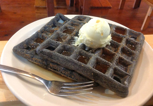 Blue Cornmeal Waffles
