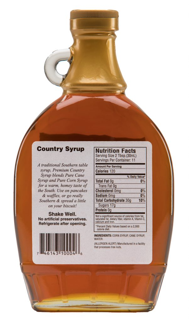 country syrup label