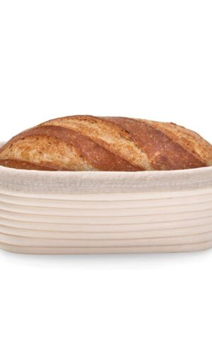 Oval Banneton proofing basket with bread