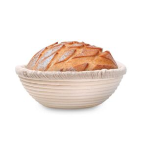 Round banneton with loaf