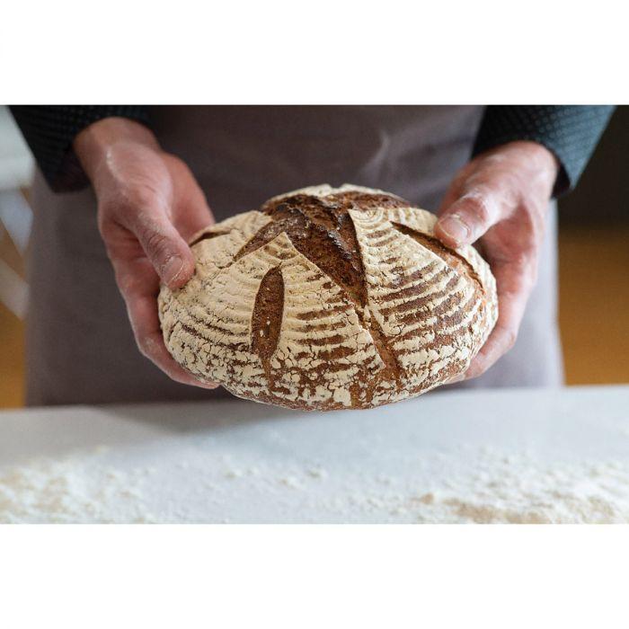 Round bread with banneton design